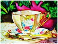 Watercolour - Floral Design China Teacup