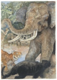 The Tiger Shere Kahn and the Elephant Hathi (from The Jungle Book) ~ Jerry Pinkney